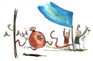 caricature of a money bag with legs winning a race